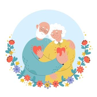 Ältere leute, die goldenen hochzeitstag feiern