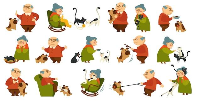 Ältere leute, die katze und hund spielen und sich um sie kümmern. großmutter und großvater mit haustieren, pensionierte persönlichkeit, die mit tieren spazieren geht. strickende kleidung der frau, zeichensatz. vektor im flachen stil