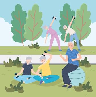 Ältere leute, die übungen machen