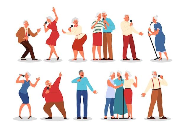 Ältere leute singen karaoke-set. altes volksgesangslied mit mikrofon. lebenskonzept der alten leute. senioren entspannen in der karaoke-bar. stil