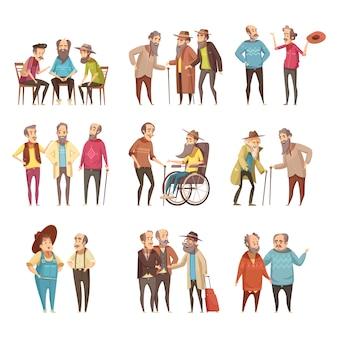 Ältere männer gruppieren retro- karikaturikonensammlung der sozialisationstätigkeiten mit stock und in der rollstuhlvektorillustration