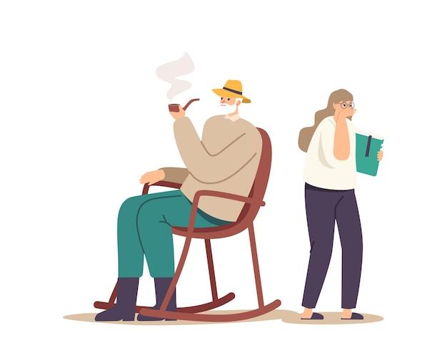 Ältere männliche figur, die im rollsessel sitzt, genießen tabak, der enkelin ignoriert. mädchen mit lehrbuch in händen husten im zimmer, wo großvater pfeife raucht. cartoon-menschen-vektor-illustration