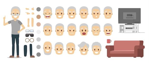 Ältere männliche figur in grauem t-shirt und blauer hose für animation mit verschiedenen ansichten, frisuren, gesichtsgefühlen, posen und gesten. isolierte flache vektorillustration