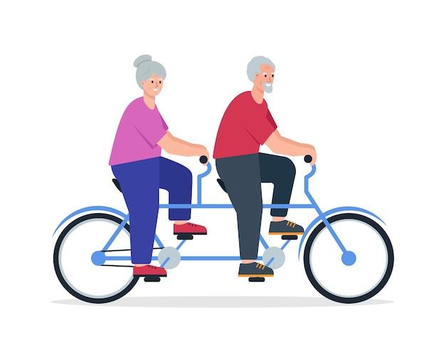 Ältere menschen auf dem fahrrad rentnerehepaar fährt tandemfahrrad älterer mann und frau aktive freizeit