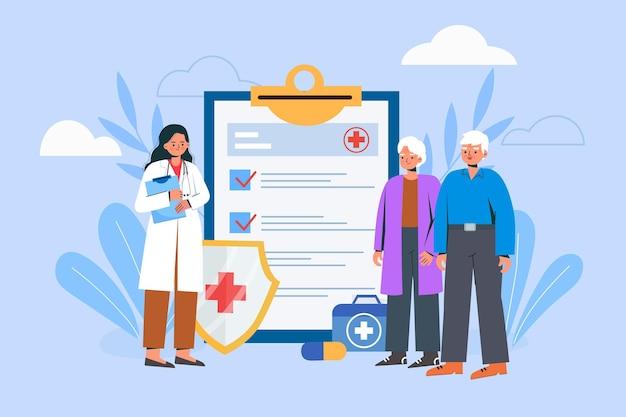 Ältere menschen, die ärzte konsultieren Premium Vektoren