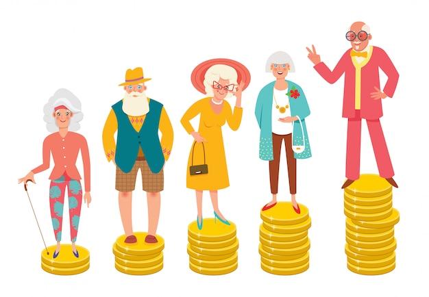 Ältere menschen, die auf stapeln unterschiedlicher höhe von münzen stehen. rentenunterschied, wohlfahrt, rentenalter, alternde bevölkerung. moderne illustration.