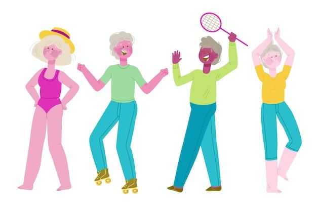 Ältere menschen, die im freien sport treiben