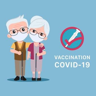 Ältere menschen erhalten einen covid19-impfstoff, der vor viren geschützt ist