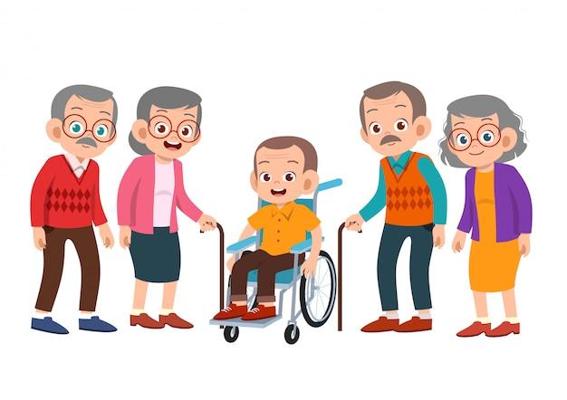 Ältere menschen gesetzt