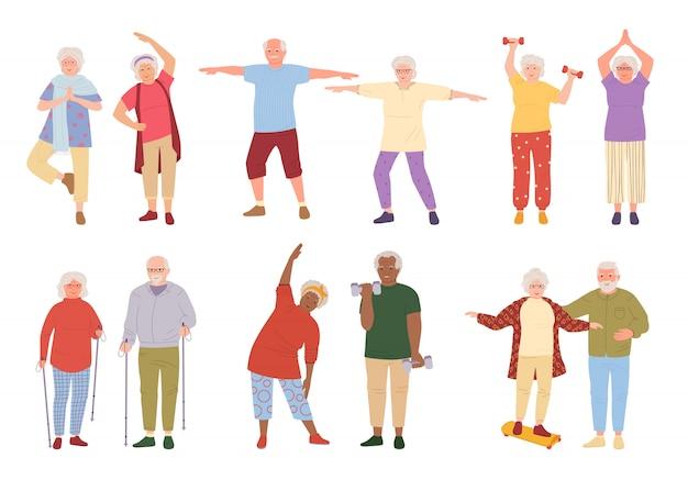 Ältere menschen, gesundes aktives lebensstilkarikaturset. ältere menschen, die morgenübungen machen, sportrentner