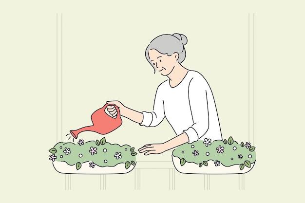 Ältere menschen glückliches lifestyle-konzept. lächelnde alte reife ältere frau großmutter, die blumen in töpfen auf balkonvektorillustration gießt