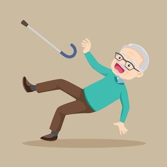 Ältere menschen haben einen unfallschlupf und fallen auf den nassen boden
