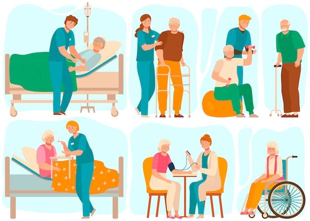 Ältere menschen im pflegeheim, medizinisches personal kümmert sich um senioren, illustration