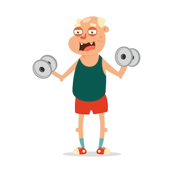 Ältere menschen können fitnessübungen mit hanteln machen. nette zeichentrickfilm-figur getrennt
