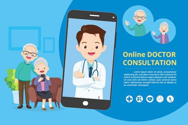Ältere menschen mit moderner medizin und gesundheitssystem online-unterstützungsmartphone mit arzt