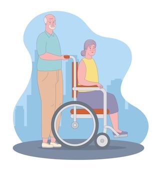 Ältere menschen mit rollstuhl