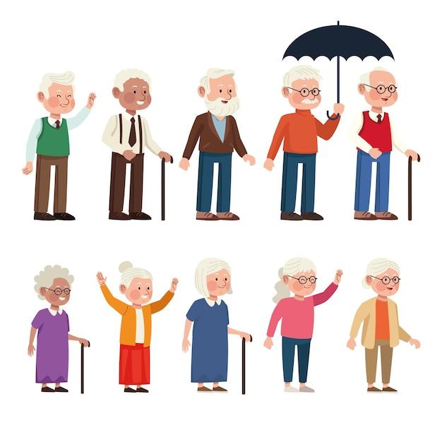 Ältere menschen setzen