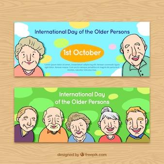 Ältere menschen tag banner
