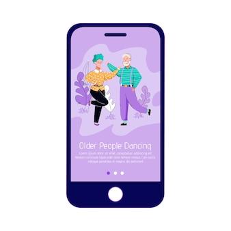 Ältere menschen tanzen - telefonbildschirm mit mobiler app-seite