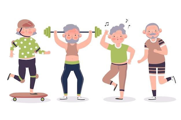 Ältere menschen treiben sport