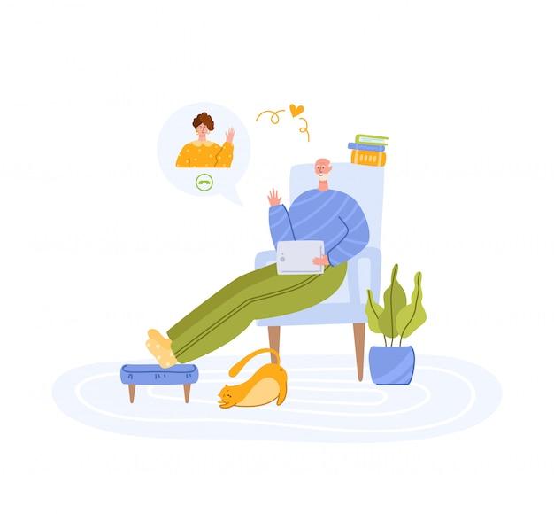 Ältere menschen und online-kommunikation - kinder oder junge erwachsene rufen großeltern an und chatten online