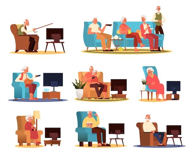 Ältere menschen und paare sitzen auf dem sofa oder sessel und sehen fern. altes leben. älterer mann und frau, die zu hause entspannen.