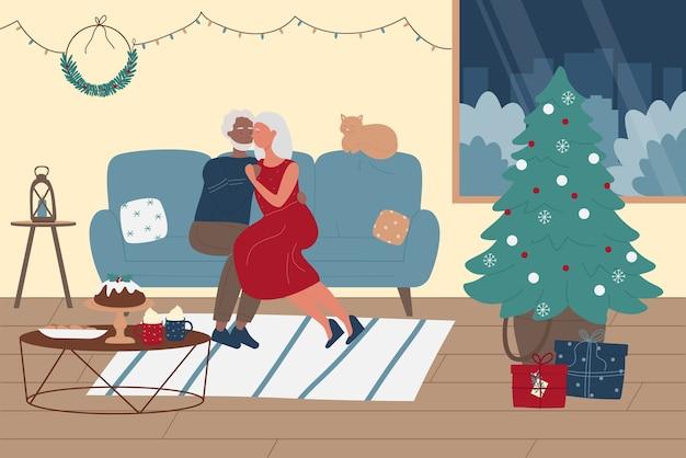 Ältere menschen verbringen zeit zusammen auf weihnachtswinterferienillustration.