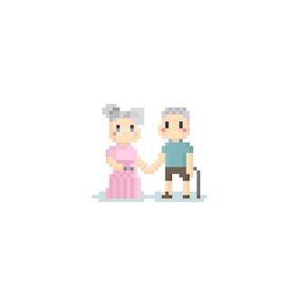 Ältere paare der pixel, die sie hand8bit charakter halten.