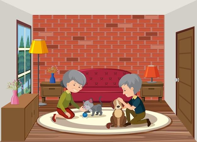 Ältere paare, die mit hund spielen