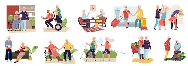 Ältere paare. karikaturhand gezeichnete alte charaktere, die zeit zusammen verbringen, einkaufen, das im café ruht, das übungen macht