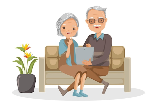 Ältere paare sitzen zusammen auf dem sofa für online-communities