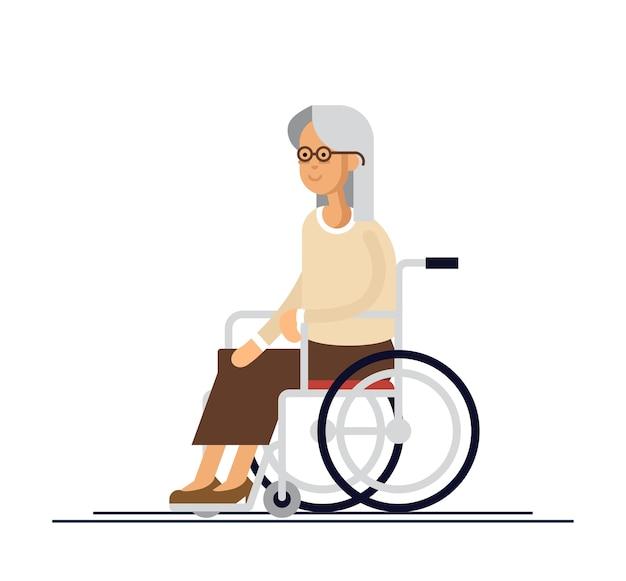 Ältere person. großmutter im rollstuhl. illustration in einem flachen stil.