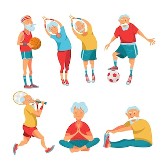 Ältere rentner, die sport treiben. vektor-illustration.