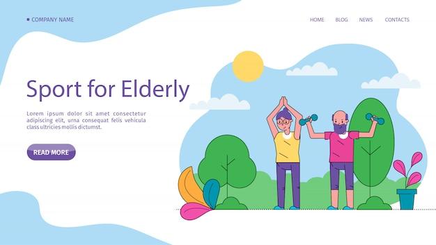 Ältere sportler, aktive senior illustration site. aktivitätslebensstil, verbessert gesundheit und wohlbefinden. älteres paar