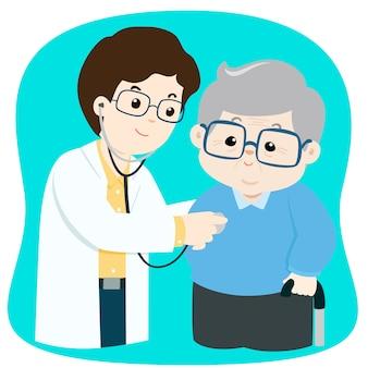 Ältere überprüfung mit doktorkarikatur-vektorillustration.