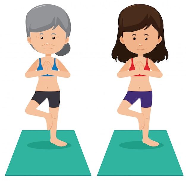 Ältere und junge frauen, die yoga tun