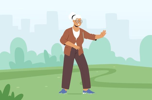 Ältere weibliche figur, die im freien trainiert und tai-chi-übungen macht. ältere dame flexibilität und wellness gesunder lebensstil. rentner-morgen-training im stadtpark. cartoon-vektor-illustration