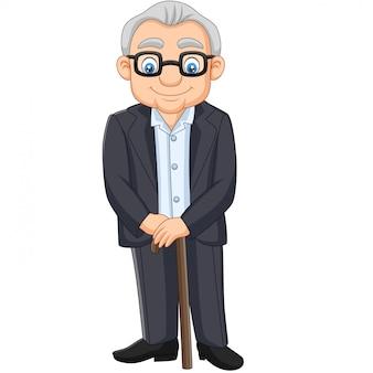 Älterer älterer alter mann der karikatur