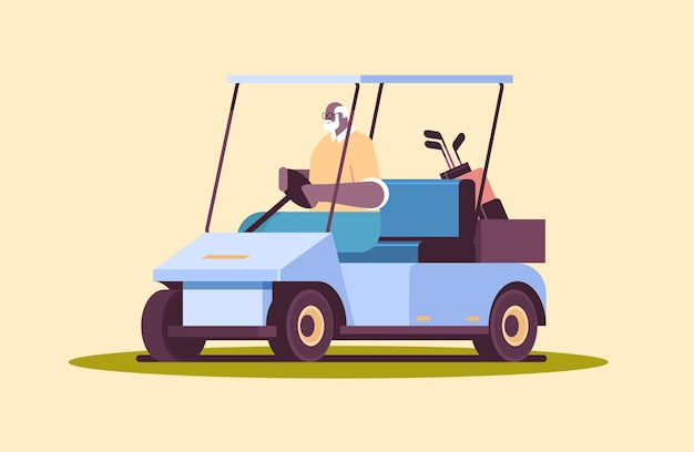 Älterer afroamerikanischer mann, der buggy auf golfplatz aktives alterskonzept horizontal in voller länge fährt