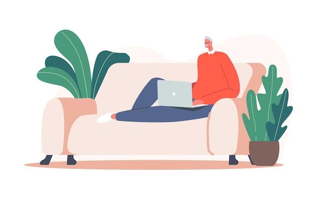 Älterer entspannter mann-freiberufler, der am laptop sitzt, der gemütliche couch sitzt. freiberuflicher ausgelagerter mitarbeiterberuf, geschäftstätigkeit, online-job, virtuelle kommunikation. cartoon-vektor-illustration