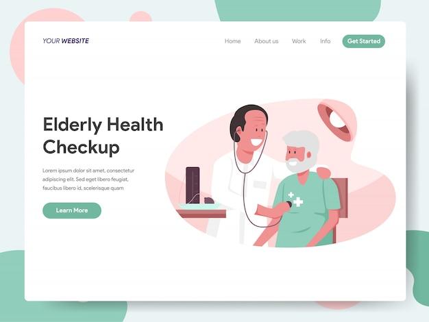 Älterer gesundheits-checkup mit doktorfahne für landingpage