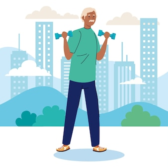 Älterer mann afro, der sport mit hanteln im freien praktiziert.