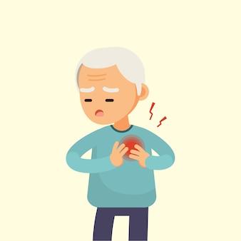 Älterer mann, der einen herzinfarkt hat