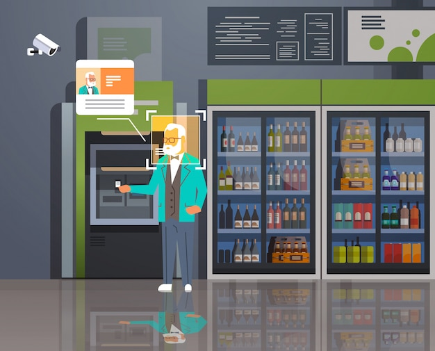 Älterer mann, der geld abhebt geldautomat-identifikationsüberwachung cctv-gesichtserkennung modernes lebensmittelgeschäft supermarkt innensicherheitskamerasystem