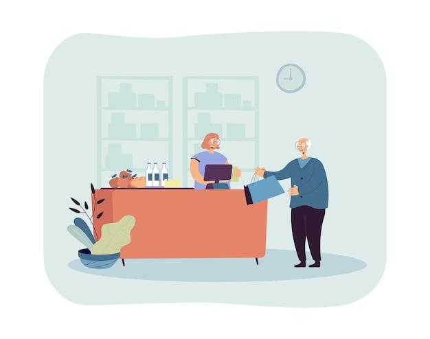 Älterer mann, der illustration zum einkaufen von lebensmitteln geht