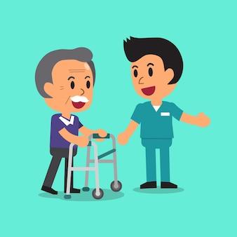 Älterer mann der karikatur, der mit paddelwalker und männlicher krankenschwester geht