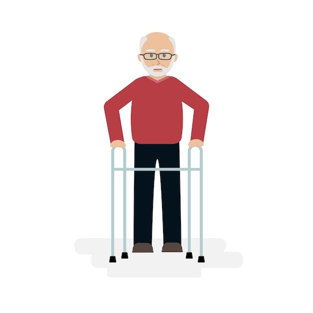 Älterer mann, der mit einem wanderer geht