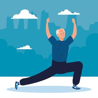 Älterer mann, der sport im freien ausübt.