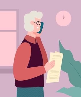 Älterer mann, der zeitung hält und am telefonvektorkarikaturillustration spricht