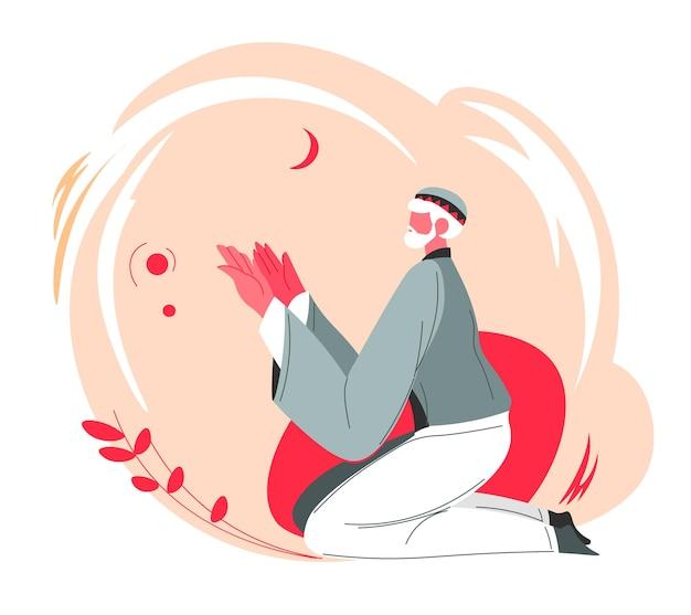 Älterer mann, der zu allah, muslimischer kultur und religion, bräuchen und traditionen im täglichen leben betet. männlicher charakter, der an gott glaubt, arabische landleute in der moschee oder zu hause. vektor im flachen stil